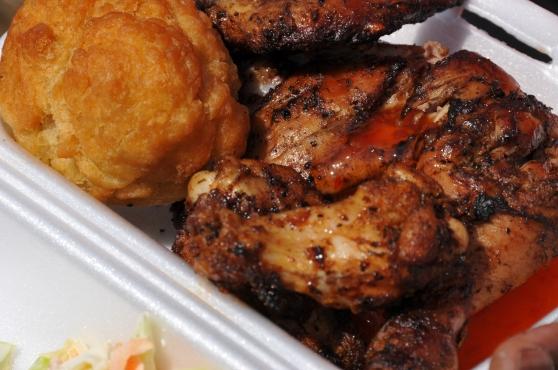 Jerk chicken & fried dumpling